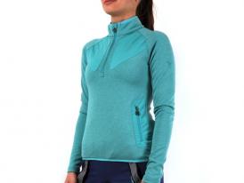 Dámske termotričko s polovičným zipsom / mikina Silvini Cerrete PRO POWERterm turquoise-ocean