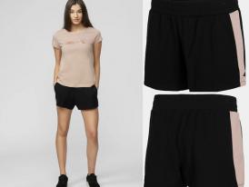 4F AKCIA Summer 2021: Dámske teplákové šortky 4F Pink stripe SKDD011